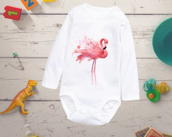 Watercolor Flamingo baby clothing, Hipster baby bodysuit, Hipster baby clothing, Girl bodysuit, Baby shower present, Best baby girl bodysuit