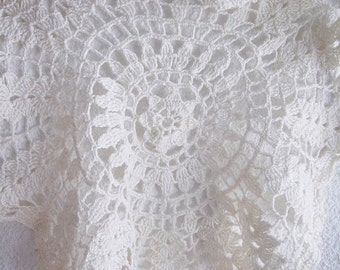 Crochet doily, Cotton handmade lace white doily vintage style