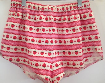 Size 8 to 10 striped high waisted strawberry white and red elastic waist shorts