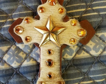 Star Leather Hair on Hide Cross Charm