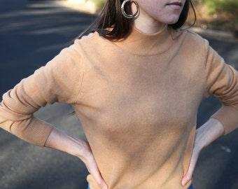 Long Sleeve Camel Mock-Neck Sweater- Beautiful Condition- Sz Medium
