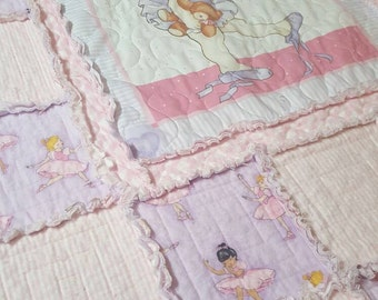 Ballerina, Rag Quilt, Crib Size, Purple and pink dancers, Baby Blanket