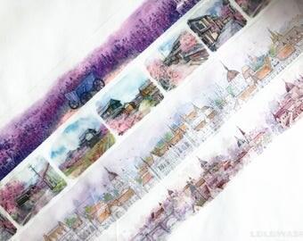 Sample - washi tape samples watercolor purple lavender landscape cherry blossom skyline 60cm <SI202>