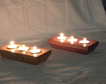 Tea Light Candle Holder, Solid Wood, Hand Made