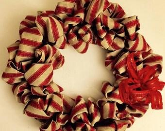 Christmas wreath, burlap and glitter