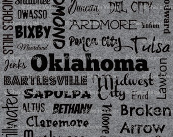 Oklahoma Cities fabric - Fat Quarter - red and black - grey and black