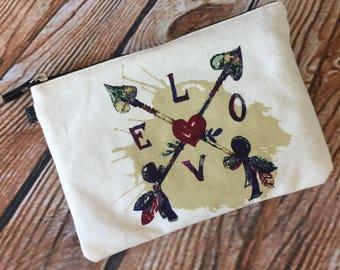 Monogram or Name Love Arrow cosmetic canvas bag