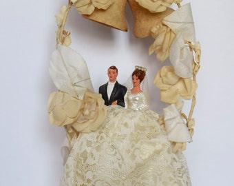 Vintage Bride and Groom Wedding Cake Topper #9