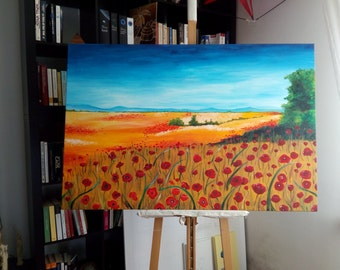 """Picture """"field of poppies"""" to oil and acrylic"""