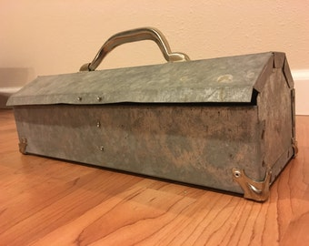 Vintage Industrial/Galvanized Metal Tool Box