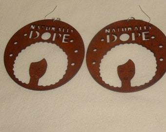 Dope Afro Girl Wood Earrings