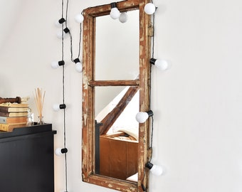 Mirror from an old window frame Vintage Loft style Rustic Country old wood farmhouse loft  wall decor cottage chic brown