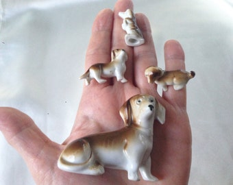 Vintage 50s Miniature Bone China/Porcelain Dachshund Family,Set of 4 Figurines,Goebel,Made in Germany,Puppy Family,Animal Miniature Figurine