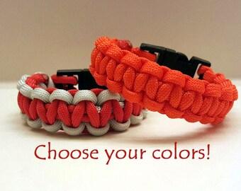 Paracord bracelet, survival gear, parachute cord, hiking gear, 550 nylon paracord, cobra