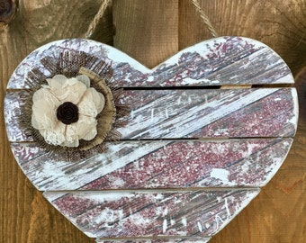 Wood Heart with Rustic Print and a Burlap & Lace Flower
