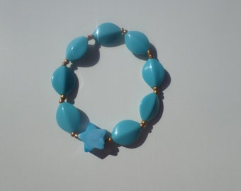 Blue Star and Gold Kid Bracelet