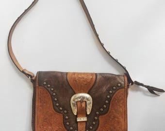 Vintage Tooled Leather Western Bag