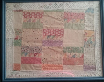 Upcycled Framed Vintage Quilt, Repainted Frame, 17x21 Wall Hanging, Upcycled Quilt, Home Decor, Upcycled Frame