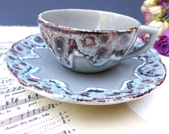 SHABBY old Cup gray and Blue ceramic FranceCampagne rustic decor Vintage french cup of coffee ceramic mug