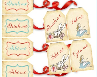 Alice in Wonderland Party Favor Tags, Alice Wonderland Gift tags,Tea party tags, birthday gift tags, Alice in Wonderland toppers, Printables