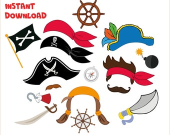 Pirates Party, Halloween Pirates Photo booth, Pirates birthday props, Pirates Halloween Printables Decoration, Pirates mask INSTANT DOWNLOAD