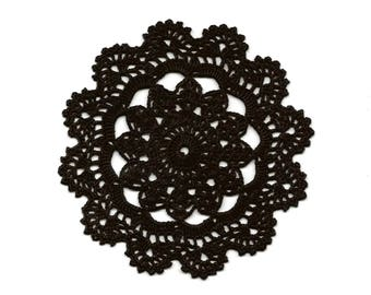 Small Vintage Handmade Crochet Doily Lace Doilies Scrapbook Decoration Home Decor Flower Mandala Dream Catcher Crocheted Craft Round Black