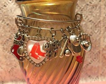 Boston Red Sox Charm Bangle Bracelet/Red Sox Bangle/MLB Bangle/Boston Red Sox Jewelry/Red Sox Jewelry/MLB Jewelry/Boston Red Sox