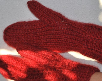 Wool Warm Red Lovely Mittens for Her