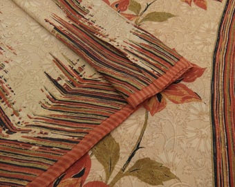 Decorative Vintage Indian Floral Printed Beige Pure Silk Saree Sari Craft Used Fabric 5 YD VPS47728