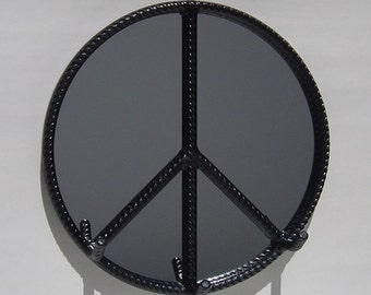 Peace Sign Wall Mirror Key Rack