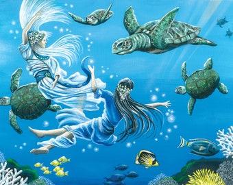 Sea Turtle Print / Mermaid Print / Sea Turtle Art / Mermaid Art / Ocean Print - 2 sizes available