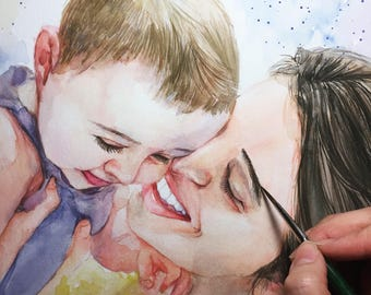 Custom Child Portrait , Custom Portrait  , child portrait,Baby painting,original watercolor painting