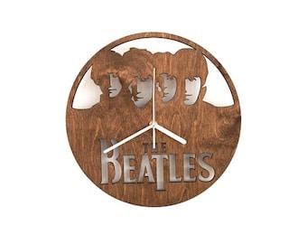 handmade beatles wooden wall clock laser cut clock wood wall art beatles furniture
