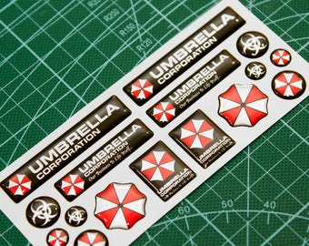 Resident Evil Umbrella Corporation 3d domed stickers 13pcs