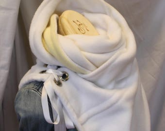 Cowl, Scarf, Neckwarmer, Collar, Lambskin fleece, Satin ribbon, Fleece, Gifts for her, Gifts, Special occasion, Winter apparel, Spring, Fall
