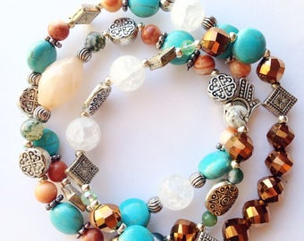 Set of Three Stacking Bracelets, Silver Bracelets, Elastic Bracelets