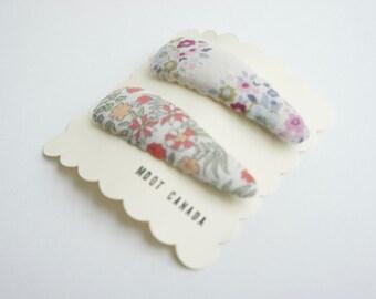 Set of 2 hair snap clips, baby, kids, toddler girls, Premium Japanese cotton, Tilda Fabric