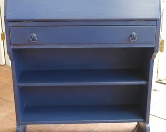 Painted Writing Bureau, **Fashionable Ink BLUE** Shabby-Chic Distressed Style
