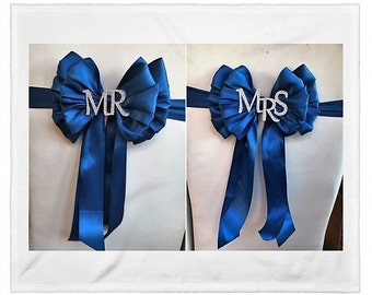 Luxury Wedding Chair Sash with Mr and Mrs in Diamante across the centre