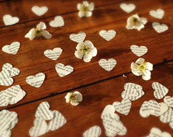 Confetti, Book Page Confetti, Heart Confetti, Table Confetti, Wedding Confetti, Table Decoration, Party Decoration, Vintage Wedding