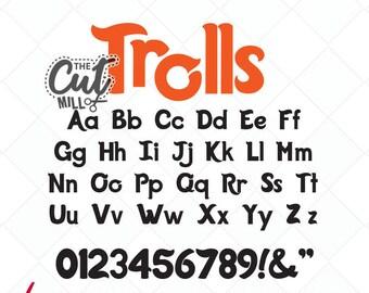 trolls inspired svg font, trolls font, trolls svg cut files, svg initials, svg letters, dxf, Silhouette, cricut - Scrapbooking, fonts