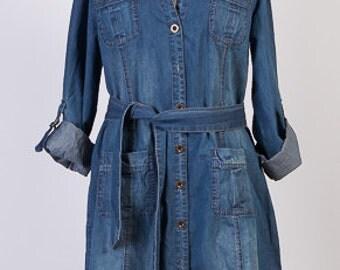 Vintage Denim Dress, Jeans Dress, Botton Up Denim Dress, Long Sleeves Dress,Denim Belt, Size UK16