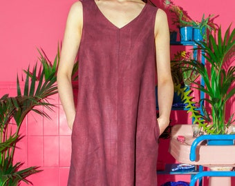 Hand Dyed Burgundy Linen Dress