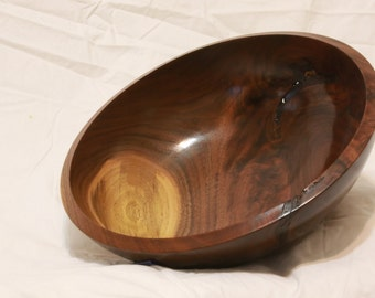 "12"" Walnut Bowl Figured - Durable Finish"