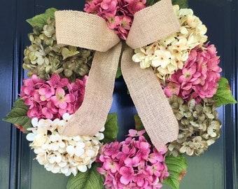 Pretty Spring Wreath - Hydrangea Wreath - Burlap Wreath - Front Door Wreath
