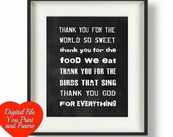 Kitchen Prayer Thank you for the world so sweet thank you for the food we eat Chalkboard Art Digital Print You Print Your Own Digital Art