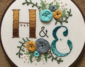 Personalized Couple's Ombre Initials Embroidery Hoop