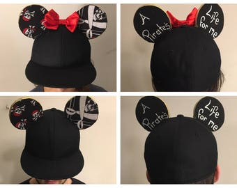 Pirate inspired Mickey Mouse ears hat / Pirate inspired Minnie Mouse ears hat / Pirates of the Caribbean bean inspired ears hat