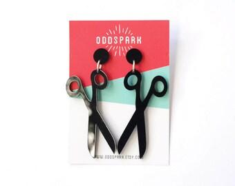 Scissor Earrings in Black Acrylic