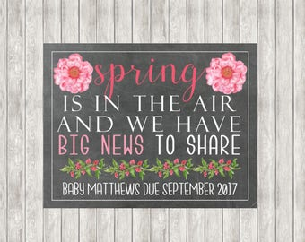 50% OFF! Digital Spring Is In The Air Pregnancy Announcement | Baby Announcement